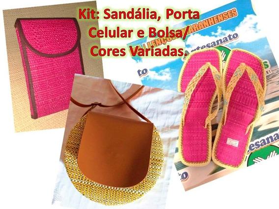 Kit: Bolsa, Capinha De Celular E Sandália.