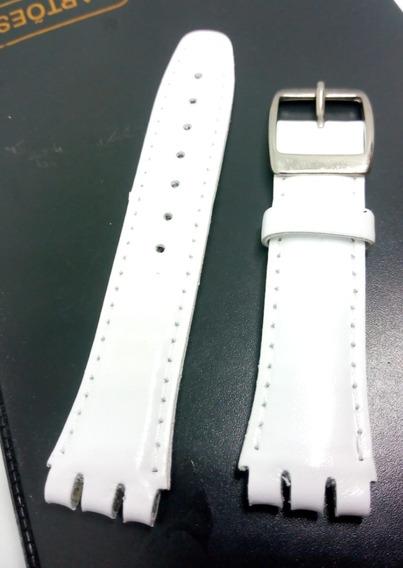 Pulseira Swatch Couro Liso 17mm Branca Irony Clássico