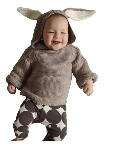 Blusão Cardigã Tricô Capuz Bebê Coelhinho Coelho Infantil