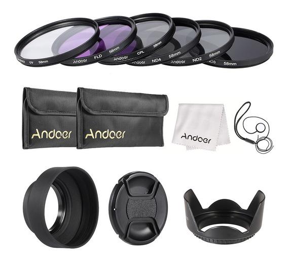 Andoer 58 Milímetros Lens Kit Filtro Uv + Cpl + Fld + Nd