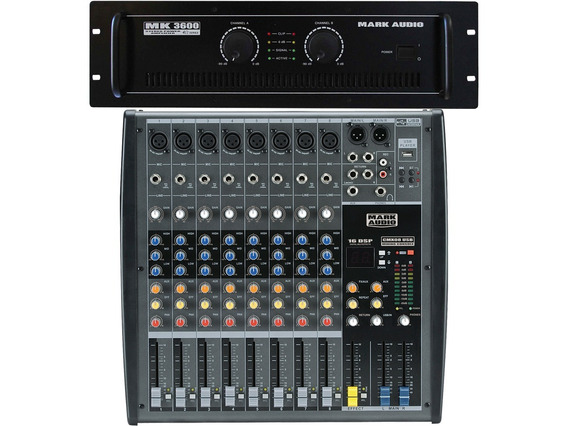 Kit Mark Audio Amplificador Mk3600 600w + Mesa Cmx 8 Canais