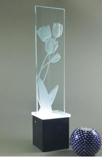 Lámpara De Mesa Buró Tulipàn Escritorio Cristal Decorativa