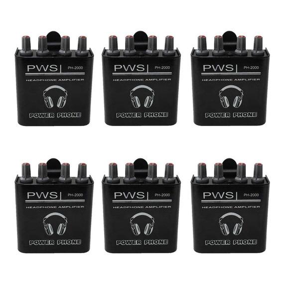 Kit Amplificador De Fone De Ouvido Ph-2000 2w 2 Canais 6 Und