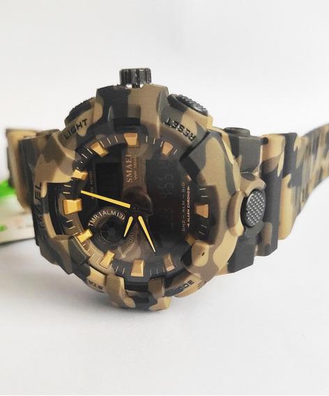 Relógio Camuflado Esportivo Analógic Digital Shock Smae 8001