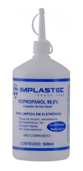 Alcool Isopropilico 500ml Com Bico Bga Smd Limpeza De Placa