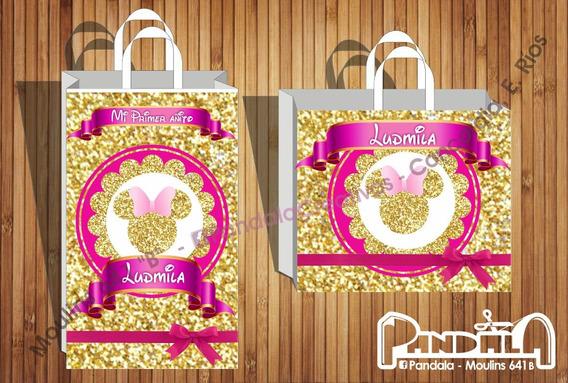 Bolsitas De Sorpresitas Minnie Glitter Dorado Gold X10 Unid