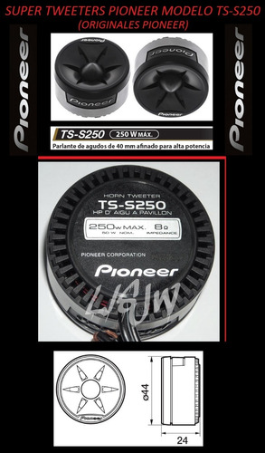 Super Tweeters Pioneer Ts-s250 250 Watts C/u Caja Trae 1 Par