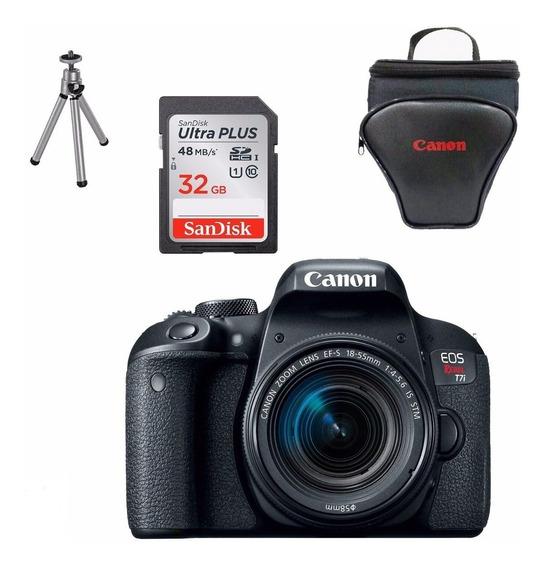 Câmera Canon Rebel T7i C/ 18-55 + 32gb + Bolsa + Tripé