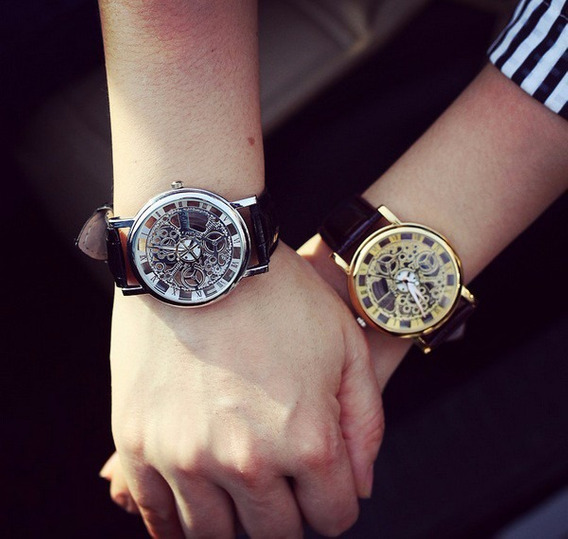 Relógio Masculino Feminino Esqueleto Prata Dourado Com 2 Pçs