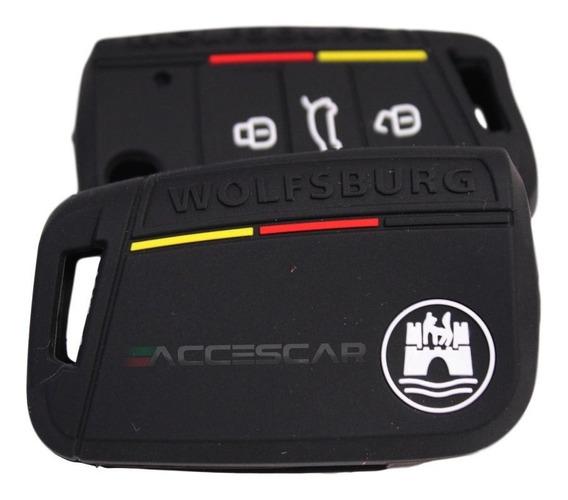 Capa Chave Vw Wolfsburg 3 Botões Novo Polo Virtus Golf Jetta
