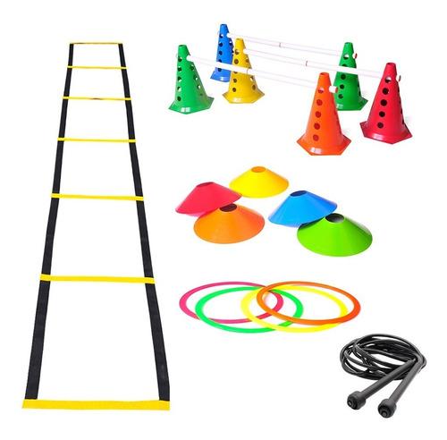 Imagem 1 de 6 de Kit Treino Agilidade Cones Escada Argolas De Circuito Corda