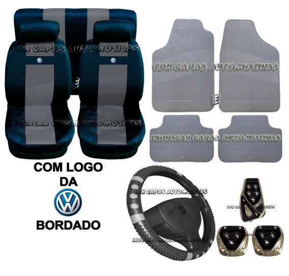Fusca Jogo Azul Capa Banco Volante Kit Tapete Pedaleira