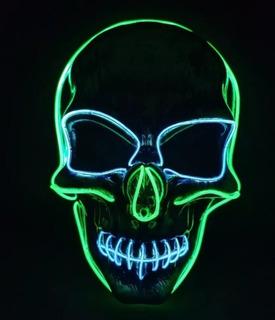 Disfraz Mascara Fin De Año Con Luz Led Halloween Fiesta