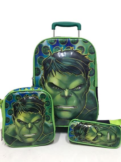 Mochila Escolar Infantil Kit Estojo+mochila+lancheira Hulk