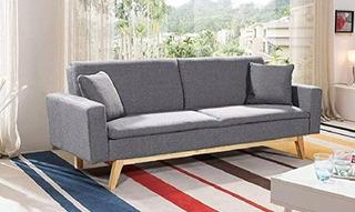 Muebles Futon Sonora Vintage Lino Gris Sala Salas Mueble