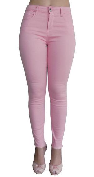 Calça Jeans Sarja Rosa Claro Skinny Barra Desfiada Hot Pants