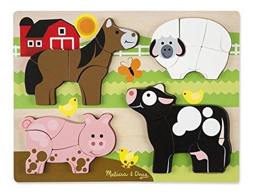Melissa Y Doug Farm Animals Wooden Chunky Jigsaw Puzzle 20 P