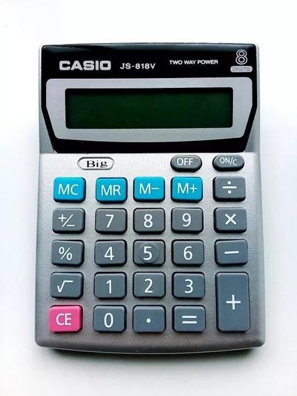 Calculadora Casio Original Js 818v 8 Dígitos Oficina Solar