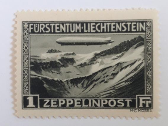 Selo Zeppelin Liechtenstein, 1 Franco, 12xs/juros