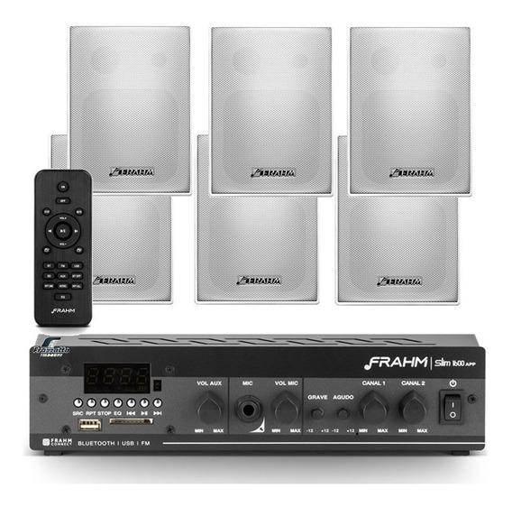 Som Ambiente Bluetooth Frahm Slim 1600 + 6 Caixas Ps200 Plus