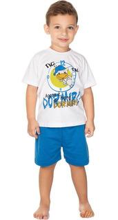 Roupa Bebê Infantil Menino Pijama Curto Meia Manga E Bermuda