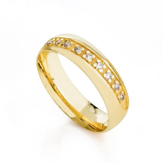 Aliança Casamento 5,5mm Com Diamantes Feminina Ouro 18k