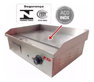 Lanche Chapa Elétrica Profissional Hambúrguer Grill Inox