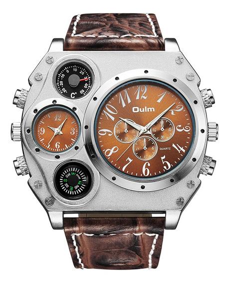 Reloj Personalizado Oulm Hombres, Correa De Cuero Pu, Cuarzo