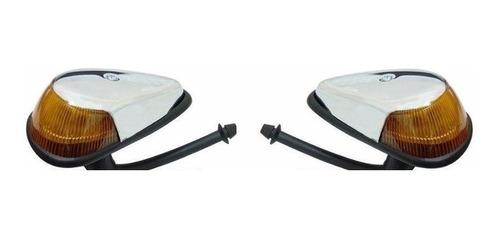 Imagem 1 de 1 de Par De Lanterna Dianteira Pisca Seta Fusca Ambar Cromado