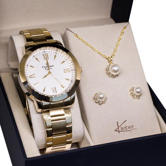 Relógio Champion Feminino Dourado Ch24697h Kit Colar Brincos