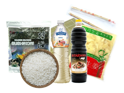 Kit Sushi - Arroz + Algas + Esterilla + Soja + Vinagre Y Mas