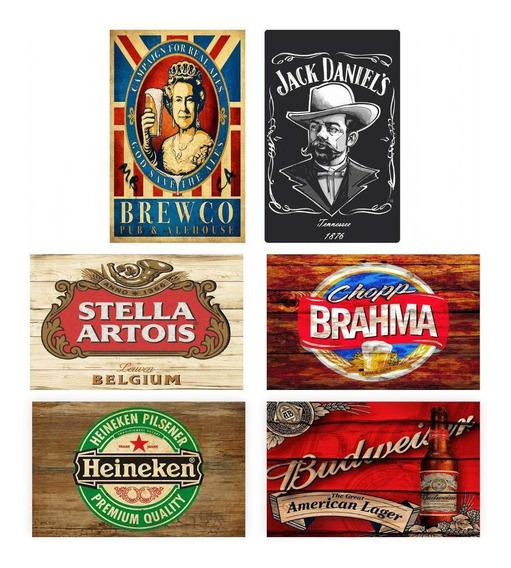 Kit Placas Decorativas Cervejas Heineken Budweiser Stella