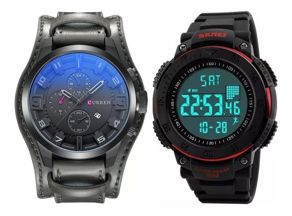 Relógio Masculino Curren 8225 Cinza Skmei Digital Pedômetro