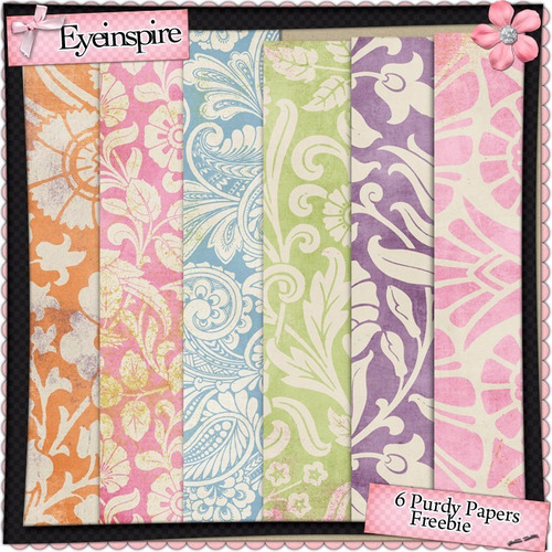 Pack 6 Fondos Shabby Chic Style Colores Varios Flores