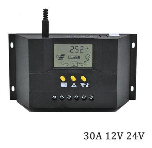 Imagen 1 de 5 de Controlador Regulador Carga Panel Solar 30a 12v/24v Pantalla