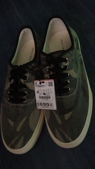 Detalles de Zara Tenis Zapatos de Piel Sintético Gris Verde T 44
