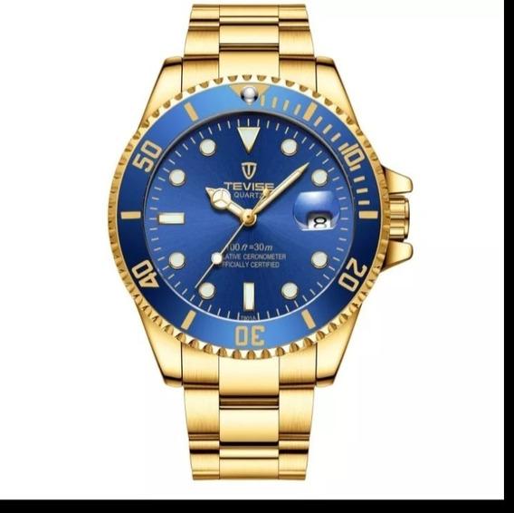 Relógio Masculino Luxo Tevise T801 Promoção Quartzo E.24
