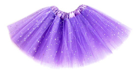 Saia De Tule Infantil Com Glitter Brilho Carnaval 30cm