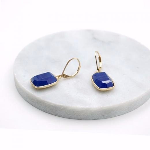 Bonito Par De Arete Dorado Con Piedra Azul Monet
