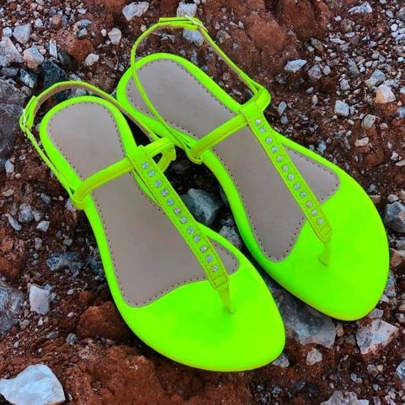 Sandália Neon Rasteirinha Cor Verde Limão Neon