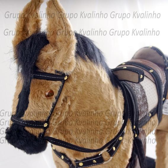 Brinquedo Cavalinho De Balanço Luxo Madeira E Pelucia