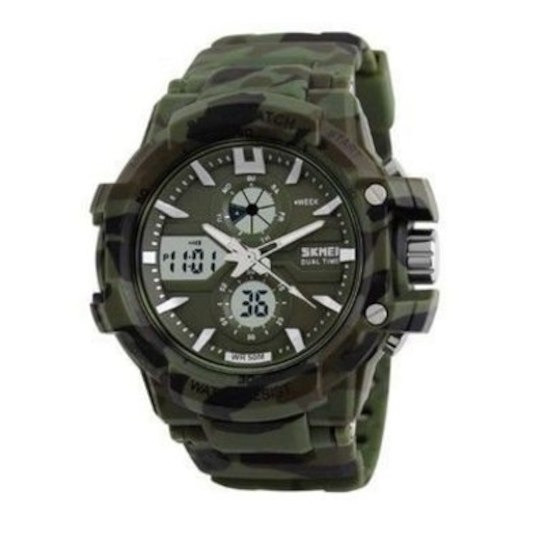 Relógio Skmei Anadigi 0990 Masculino Verde Militar