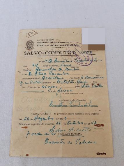 Salvo Conduto Catalão Goias 1943