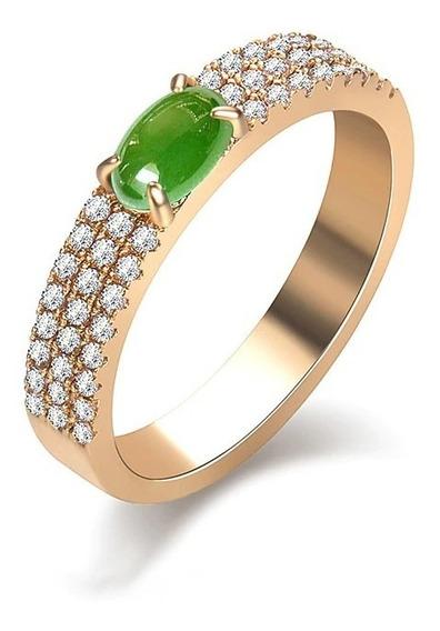 Anel De Formatura Feminino Verde Esmeralda Banhado Ouro 18k