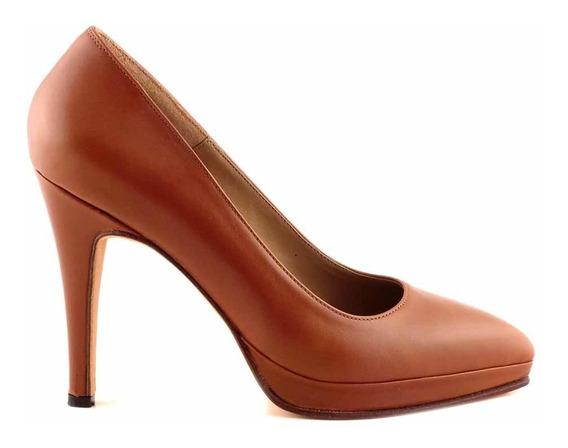 Zapato Mujer Vestir Cuero Briganti Stilleto Taco - Mccz03299
