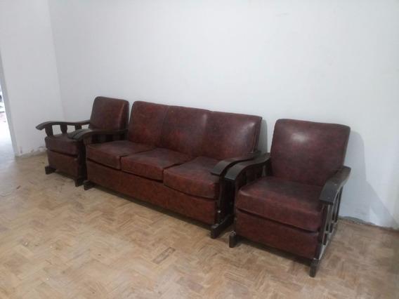 Sofa Anos 50 Em Madeira Nobre + 2 Poltronas