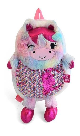 Mochila Unicornio Oso Llama Peluche Lentejuelas Infantil Nen
