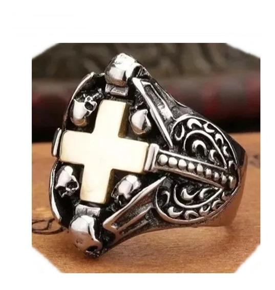 Anel Cruz De Ouro Masculino Aço Titânio Templário Simbologia