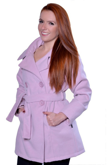 Casaco Femino Lã Batida Trench Coat Com Cinto Inverno Frio