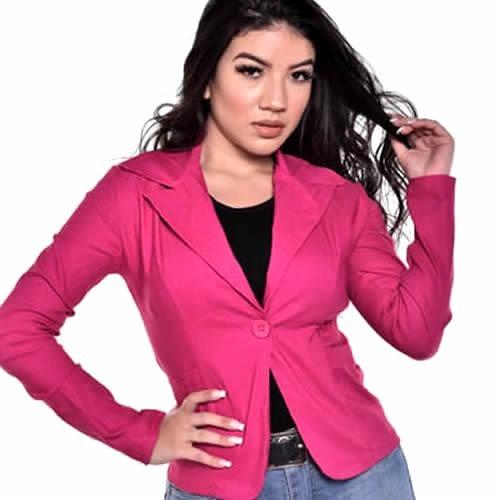 Kit 4 Blazer Feminino Sem Forro Blusa Moda Colorido 344-4